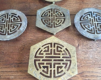 Vintage brass trivets chinoiserie