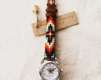 BLW-13,Native American inspired hand-beaded genuine leather watch