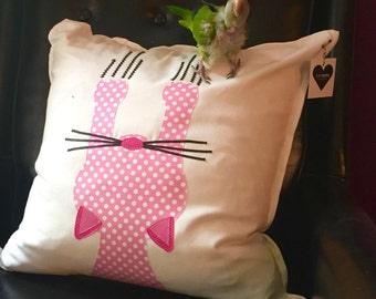 "Pink  Kitty Cat 20"" x 20"" Pink Throw Pillow, Decorative Pillow Cover"