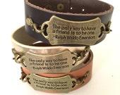 FRIEND QUOTE Leather Cuff Bracelet Ralph Walson Emerson UNISEX Adjustable Handmade Gunmetal Antique Gold Metal Antiqued Brass Friends Gift