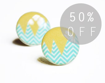 ON SALE - Blue and Yellow Abstract Chevron Stud Earrings- Hypoallergenic Surgical Stainless Steel Posts