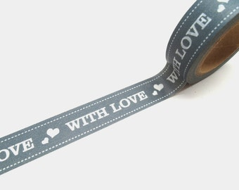 Love Packaging Washi Tape - Love and Hearts Washi Tape in Gray