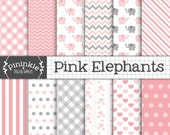 Pink Elephant Digital Paper, Girl Baby Shower Scrapbook Paper, New Baby Girl Elephant Backgrounds, Pink and Gray Digital Paper