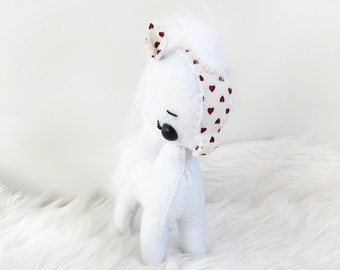 Mini White and Red Heart Felt Pony Plushie Toy