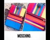 SALE 90s MOSCHINO Rainbow Leather Wallet