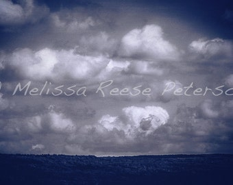 Blue Clouds, Nature Photography, Fine Art Print, Conesus Lake, Cloudy Sky, Puffy Clouds, Monochrome Wall Art, Blue Home Decor