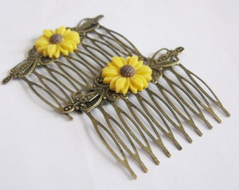 Sunflowers combs - a pair of vintage style yellow sunflower on antique bronze filigree combs - Country & Rustic - Romantic - Garden - Sunny