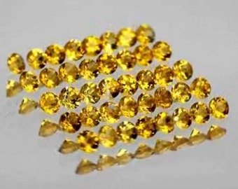 Golden Citrine Faceted Rounds 2 MM Priced Per Lot Of 10 Stones, Precision Cutting, Natural Gemstones