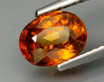 Bright Golden Orange Zircon Oval Faceted Cut And Calibrated, 8 x 6 MM, 2.08 Carat. Natural And Genuine, Tanzania