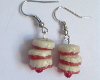 White & Pink Recycled Glass Earrings