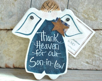 Father's Day Son in Law Birthday Gift Salt Dough Ornament  / Gift for Mom / Birthday / Xmas Ornament