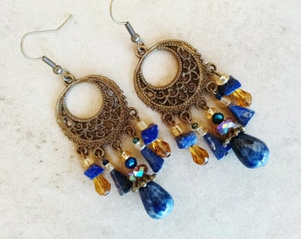 Lapis chandelier earrings, Bohemian gypsy long gemstone antique gold lapis lazul, gold crystal chandelier earrings