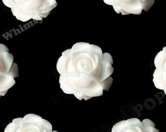 Vintage Deco White Rose Bud Resin Cabochons, Flower Cabochons, Rose Cabochons, Flat Back Embellishment, 15mm x 8mm (R1-095)