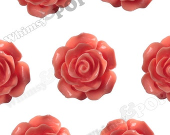 Large Detailed Coral Orange Rose Deco Resin Cabochons, Flower Shaped, 20mm Rose Cabochons (R1-029)
