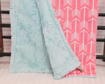 """Arrow Minky blanket- 30"""" x 36""""- coral archer  minky- Arrow baby blanket- toddler blanket- double minky blanket- crib blanket- baby bedding"""