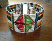 Vintage Handmade Beaded Design American Indian Bracelet Miccosukee Seminole