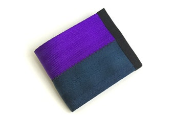 Dark Blue and Purple Seatbelt Wallet - Vegan Billfold Wallet with Velcro Closure