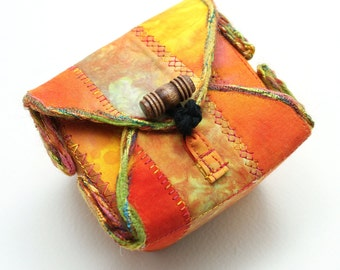 Fabric Box Orange Rust Handmade