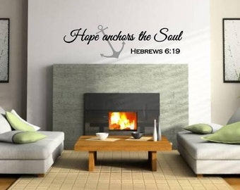 Hope Anchors the Soul Hebrews 6:19 Wall Decal Vinyl Verse wall decal Scripture