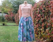 Full Skirt / Skirt Vintage / Full Skirt Pockets / Size EUR44 / UK16 / Turquoise / Lilac / Blue / White