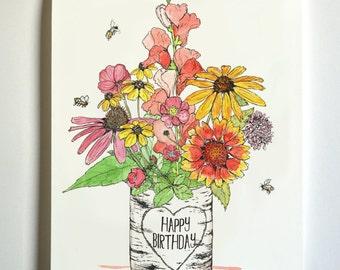Birthday Bouquet Fancy Flowers Card