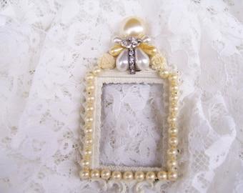 Vintage Made in Italy OOAK Jeweled Pearl Rhinestone Metal Picture Frame