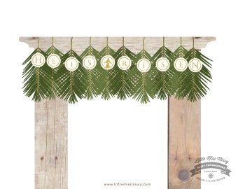 Large Easter Banner, He is Risen Palm Branch Banner, 11x17 Large Legal Size paper