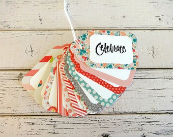 Gift Tags, Gift Tag Set, Assorted Gift Tags, Paper Tags, Party Tags, Hanging Tags, Set of 12 Tags, Large Gift Tags, Celebrate Tags