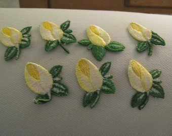 ONE yellow white and green textural flower rose bud 1960s applique