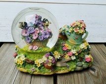 Antique Snow Globe Music Box, Garden Music Box, Everything is Beautiful, Flowers Music Box