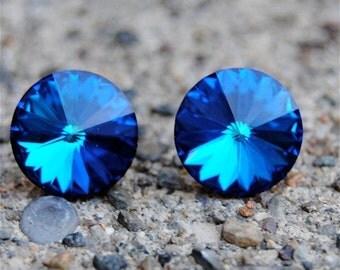 30% OFF SAMPLE SALE Swarovski Stud Earrings - Vintage Super Sparklers - Rare -  Bermuda Blue