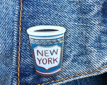 NY Coffee Cup Enamel Pin, NYC, Hard Enamel Pin, Jewelry, Art, Gift (PIN40)