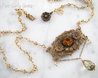 On Sale, Antique pendant, Citrine gemstone necklace, Two Girls Gems