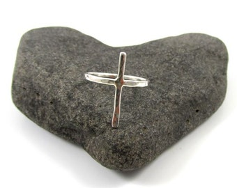 Sterling Silver Cross Ring, Hammered, Textured, Handmade, Christian Inspired Jewelry, Easter, Religious, Minimilist, Gift Idea, Simple Rings