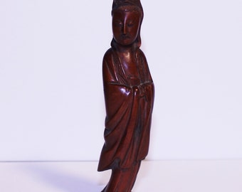 Vintage Wooden Asian Figure, Vintage Wooden Asian Monk, Small Wooden Character