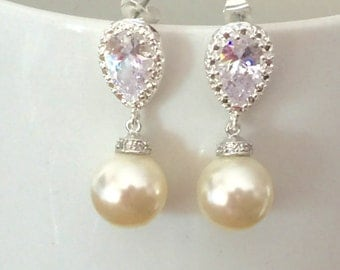 Pearl and crystal dangle earrings, swarovski pearl earrings, wedding jewelry, pearl earrings, bridal earrings