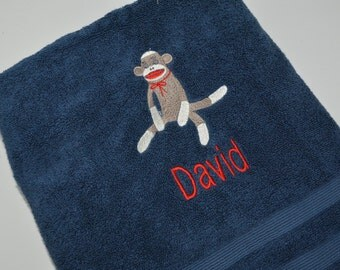 Personalized, Embroidered Bath Towel - Sock Monkey