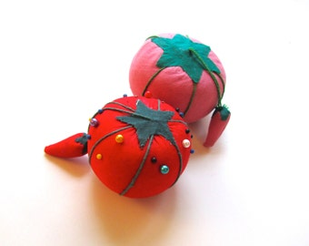 Pair of Tomato Pincushions, Red and Pink, with Strawberries