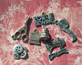 7 Sewing Charms THIMBLE Thread Scissors Machine TAPE Loose Pendants Buttons Silver finish