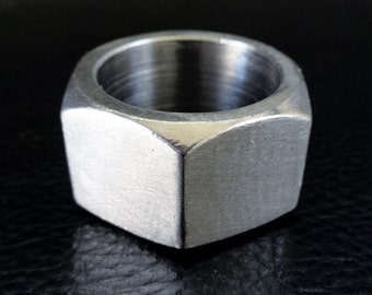 Stainless steel ring, size 12 modern industrial geometric hexagonal band ring, gift for him