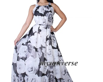 Prom Dress Women Plus Sizes Clothing Long Maxi Dress Floral Bridesmaid Dress Casual Beach Party Wedding Guest Black White Rose Chiffon