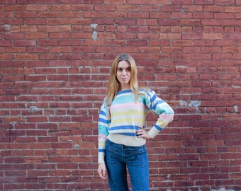 Vintage 1980's Women's Pastel Striped Boat Neck Sweater Fits Small Medium