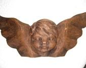 "Vintage Hand Carved Wooden Winged Cherub, Cupid, Angel Wall Hanging / 13.5"" X 6"" / 3D Primitive Folk Art"