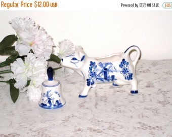 Retro Blue, White Cow Creamer and Delft Hand Painted Bell / French Country / Farmhouse Decor / Cottage Chic / Windmill, Floral
