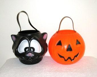 Jack-O-Lantern & Black Cat Halloween Candy Buckets / Carolina Enterprises / Blow Mold Trick Or Treat Pails / Set #1