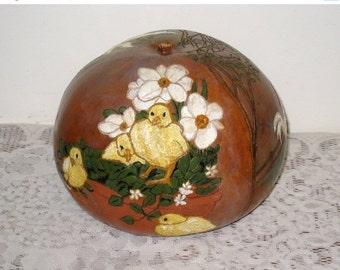 Large Folk Art Gourd / Hand Carved, Hand Painted 3 Barnyard Scenes / Chicks, Ducks, Barn, Hen, Pig / Farmhouse Decor