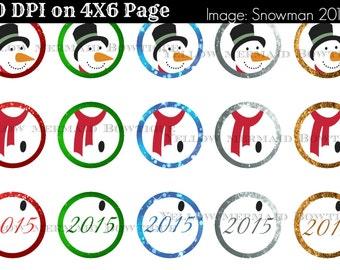 Buy ONE get FOUR FREE Snowman Christmas Ornaments Digital Download 2015 Bottlecap Ornaments