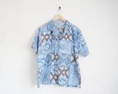 80s Men Shirt. Blue Button Down Shirt. 90s Aztec Print Shirt. Hipster Shirt. Seinfeld Kramer Shirt. Short Sleeve Oversized Shirt. Unisex.