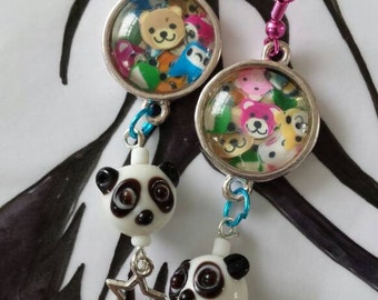 Sale was 12 now 10uk Silvertone Round Cabochon Cute Cartoon Animal earrings with Glass Panda dangles.