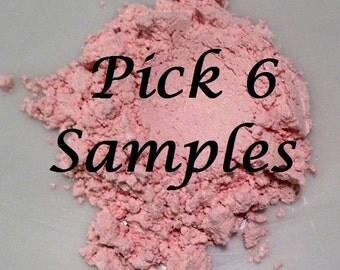 Organic Cosmetics SAMPLES YOU PICK 6 Beauty Minerals Vegan All Natural Gluten Free Eye Lips Nails